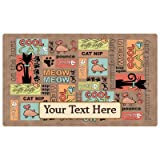 Drymate Custom Personalized Cat Place Mat - 12'' x 20'' - Personalized Pet Food Mat (Cool Cat - Brown)