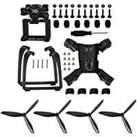 4pcs Propellers Props & Action Camera Frame Holder for Hubsan H501S X4 H501C Drone Spare Parts (Black)