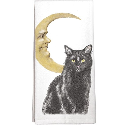 Montgomery Street Black Cat with Cresent Moon Cotton Flour Sack Dish Towel (Cotton Paisley Dish)