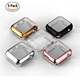 For Apple Watch Case Screen Protector, UBOLE iWatch Screen Protector Soft Plated TPU All-around Ultra-thin Cover for Apple Watch Series 1, Series 2, Series 3, Nike+, Edition (5pack, 42mm)