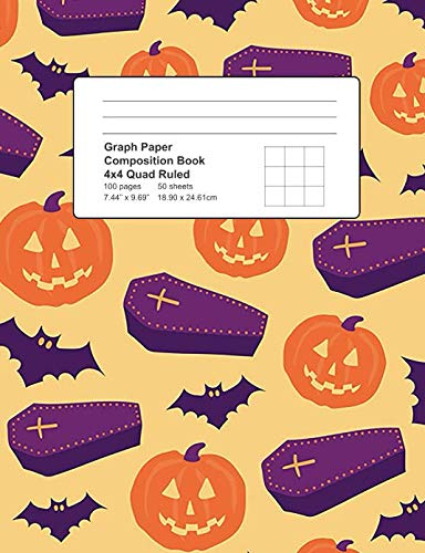 Graph Paper Composition Book: 4x4 Quad Ruled 100 Pages 50 Sheets 7.44