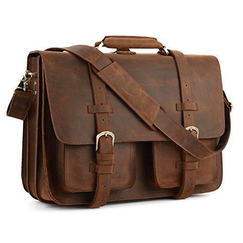 Kattee XZ340DN-FBA Real Leather 16'' Laptop Briefcase Large Messenger Bag Backpack Handbag by Kattee