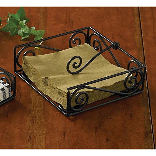 Black Village Scroll Luncheon Napkin Holder
