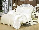 Lotus Karen Luxury Silky Duvet Cover Set The Best Quality Satin Quilt Cover Set for Home Decoration Simple Solid Color Design1Duvet Cover 2 Pillowcases(White,King)
