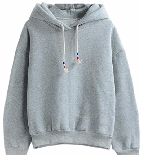 Candy Stripe Hoodie Top - Alion Women's Candy Color Athletic Hooded Pullover Fashion Sweatshirts Tops Grey XS