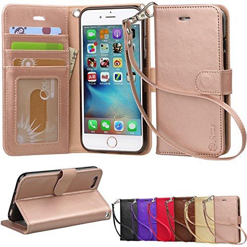 Arae Case for iPhone 6s / iPhone 6, Premium PU Leather Wallet case [Wrist Strap] Flip Folio [Kickstand Feature]...