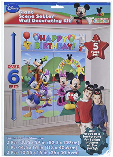 Amscan Disney Mickey Mouse Birthday Party Scene Setters Wall Decorating Kit, Pack of 12, Multi, 59