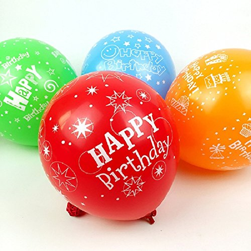 50pcs 12inch Latex Balloons for Happy Birthday Party Beautiful Flowers Printed Birthday Balloon Decoration Multicolor (Birthday)