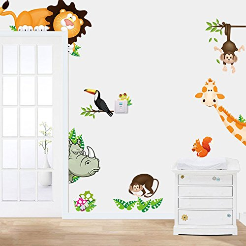 WOCACHI Wall Stickers Decals 2015 Jungle Animal Kids Baby Nursery Child Home Decor Mural Wall Sticker Decal Art Mural Wallpaper Peel & Stick Removable Room Decoration Nursery Decor