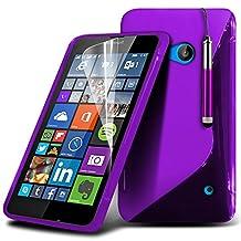 ONX3® ( Purple ) Microsoft Lumia 640 Case Custom Made S Line Wave Gel Case Skin Cover With LCD Screen Protector Guard, Polishing Cloth & Mini Retractable Stylus Pen