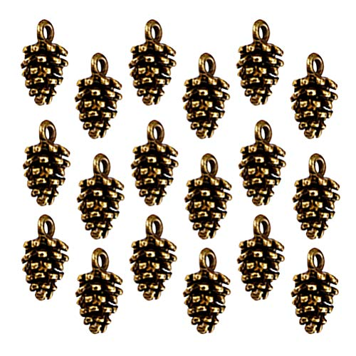 Artibetter 50pcs Alloy Pine Cone Pendants Nature Nuts Charm Pendants Beads Charms for DIY Bracelet Necklace Jewelry Making (Antique Brass)