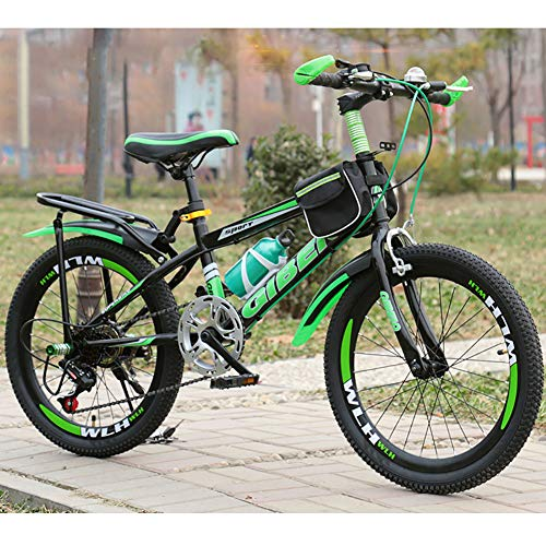 Unisex Mountain Bike 7 Speed Ultralight Frame High-Carbon Steel Commuter City Bike 20 Inch 22 Inch 24 Inch Hardtail Bicycle,Green,20Inch