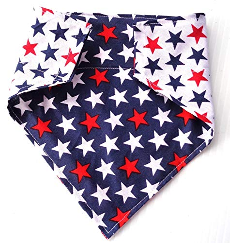 Large 2 Sided Reversible Patriotic Red White and Blue Stars Petwear Accessories, Over the Collar Slip Through Thread Thru pet Dog Bandana neckwear