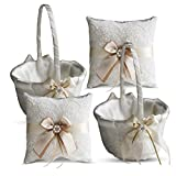 Alex Emotions Ivory Ring Bearer Pillow and Basket Set | Lace Collection | Flower Girl & Welcome Basket for Guest | Handmade Wedding Baskets & Pillows (Champagne)