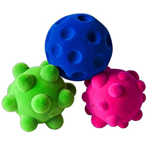 Rubbabu 100% Natural Rubber Foam Sensory Balls - Safe Soft Squishy Baby & Toddler Toy Ball with Fuzzy Tactile Surface- 3PK