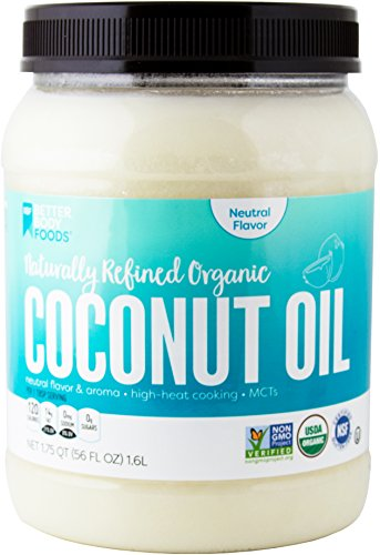 Refined Coconut Oil (BetterBody Foods Organic Naturally Refined Coconut Oil with Neutral Flavor and Aroma, 56 Ounce)
