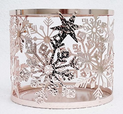 Bath and Body Works White Barn Candle Sleeve Holder Rose Gold Stars and Snowflake Holds Your Favorite 3 Wick - Candle Star Stand