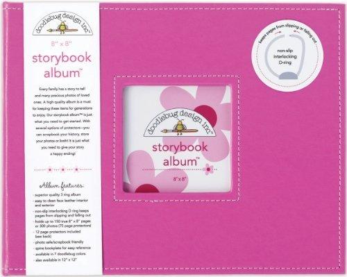 Doodlebug Design Storybook for Scrapbooking Album, 8 by 8-Inch, Bubblegum by Doodlebug Design, - Bubble Gum Doodlebug