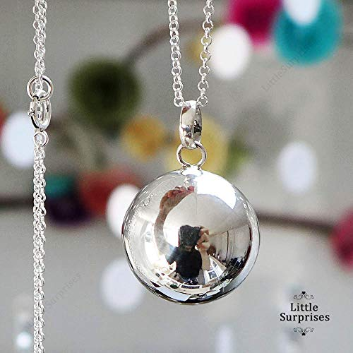 20mm Harmony Ball Mexican Bola Sterling Silver Pendant Baby Chime Necklace 36