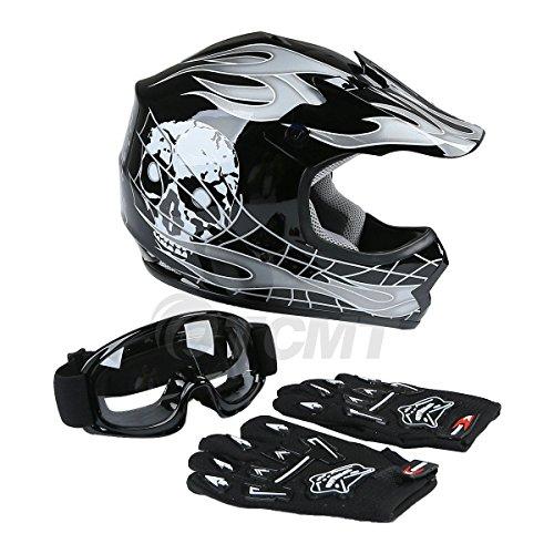Amazon.com: TCMT Dot Youth & Kids Motocross Offroad Street Helmet Black Skull Motorcycle Helmet White Dirt Bike Dirt Bike Helmet+Goggles+gloves (XL, ...