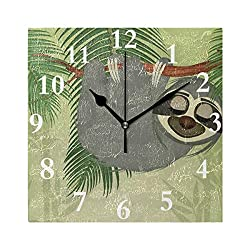 Wall Clock Sloth Hanging Silent Non Ticking Decorative Square Digital Clocks for Home/Office/School Clock