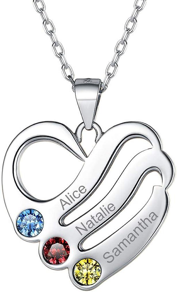 Custom4U Piedras de Nacimiento Corazón Personalizado Collar Plata de Ley 925 / Acero Inoxidable 316L para Mujeres Joyería Moderna con Nombres Grabados Regalo Romántico