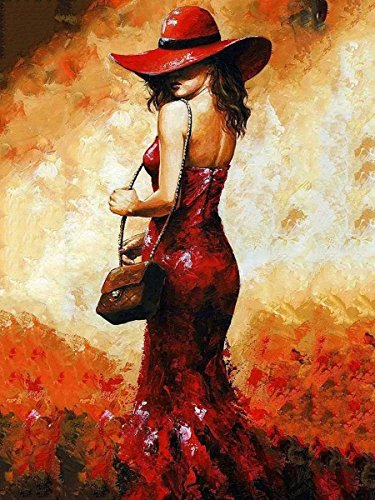 (Wowdecor Paint by Numbers Kits for Adults Kids, Number Painting - Red Dress Red Hat Pretty Girl, Flame Beauty 16x20 inch(Framed))