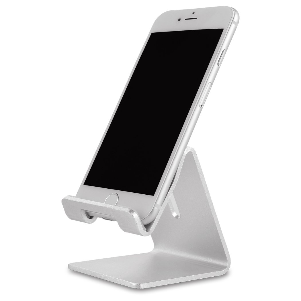 Cell Phone Holder, iPhone Stand, MMTE Aluminum Alloy Dock for iPhone, Android and most Mobile Phone (Silver)