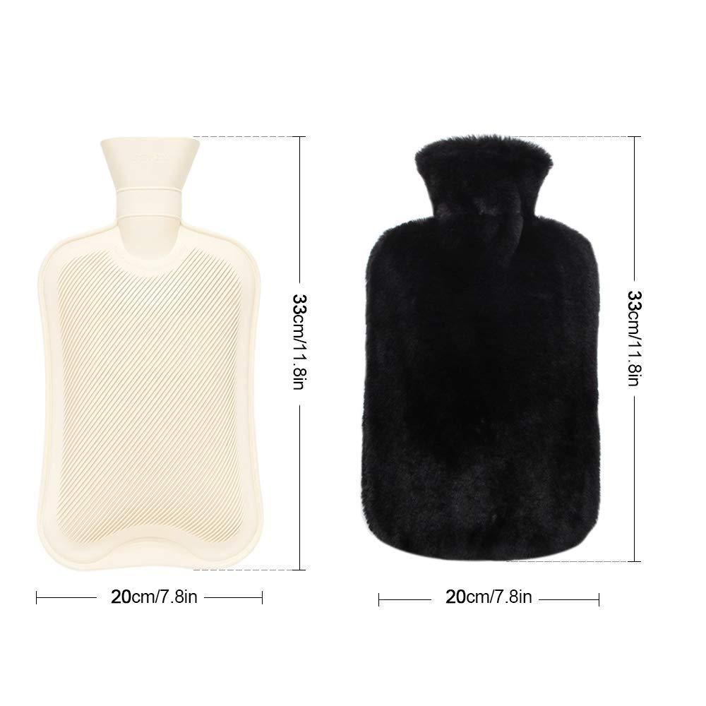 Bouillotte de 2 litres avec housse en peluche super douce certifi/ée et sans substances nocives Longue bouillotte pour le ventre et le cou
