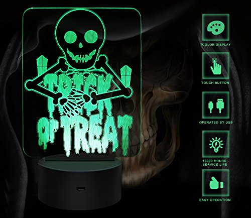 3D night light, 3D Punisher Skull Night Light Touch Table Desk Lamp with 7 Colors 3D Optical Illusion Lights with Acrylic Flat & ABS Base & USB Charger for Halloween, (Halloween Optical Illusions)