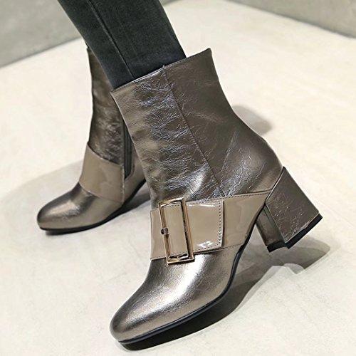 AIYOUMEI Womens Fashion Block Heel Side Zipper Bootie Ankle Boots With Buckle Silvergray JE4Bqj