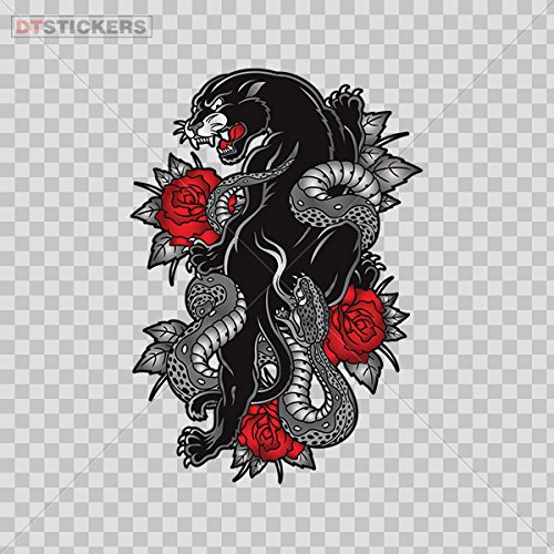 Panther Martial Arts - Decal Black Panther Martial Arts Red Roses Car Window Jet Ski D217 22962