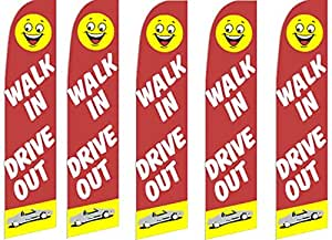 5 Swooper Flutter Flags WALK IN DRIVE OUT Smiley Face Red Yellow White