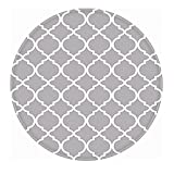 Circular Rugs LEEVAN Modern Trellis Pattern Antique-Style Geometric No-Shedding Non-Slip Machine Washable Round Area Rug Living Room Bedroom Kitchen Soft Carpet Floor Mat Home Decor 4-Feet Diameter, Grey Morrocan