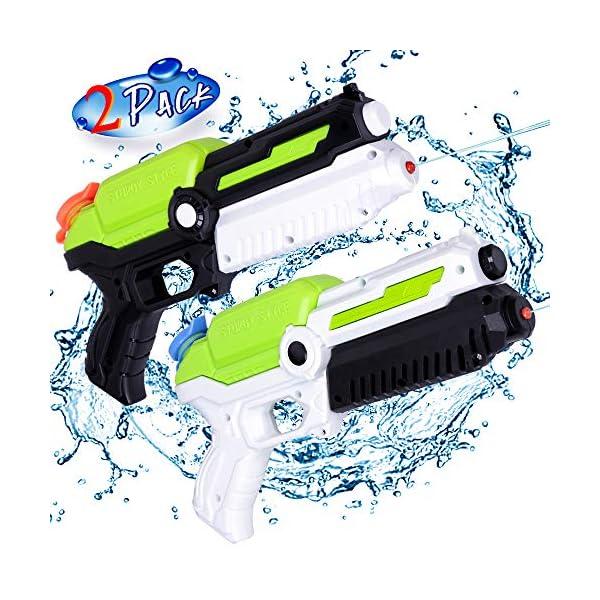 MOZOOSON Giocattoli per Bambini di 3 Anni, 2 Pack Pistole ad Acqua con 2x400ml capacità per Bambini, Water Squirt Gun… 1 spesavip