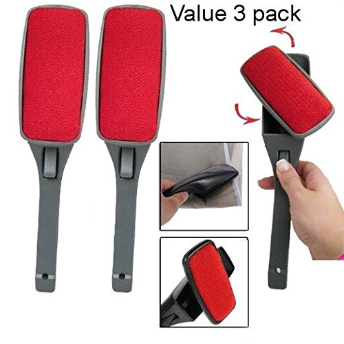 Original 3 Pack Swivel Magic Lint Brush Clothes Fabric Pet Hair Dust Dandruff Remover Cleaner, Eliminates the need to use a vacuum or costly sticky rollers and refills Dandruff Remover