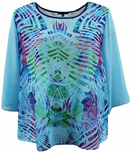 BNY Corner Women's Plus Size Flowy Chiffon Multi Print Fashion Blouse Tee Shirt Knit Top Blue 1X (Tropical Print Knit Top)