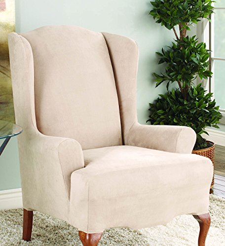 Sure Fit Stretch Suede - Wing Chair Slipcover  - Taupe (SF35370)