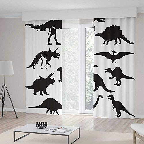(TecBillion Decor Collection,Dinosaur,for Living Room,Prehistoric Skeleton Bone Black Silhouettes of Different Ancient Wild Dinosaurs Decorative2 Panel Set,55W X 82L Inches)