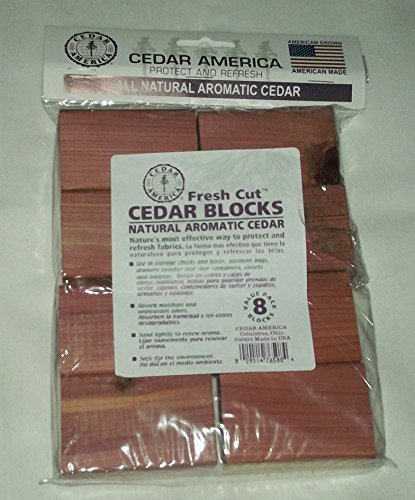 Cedar America Cedar Blocks for Clothes Storage Closets and Drawers Moth Repellent - Natural Aromatic Cedar 8 Blocks