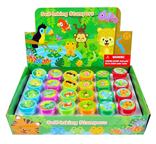 TINYMILLS 24 Pcs Rainforest Animals Stampers for Kids