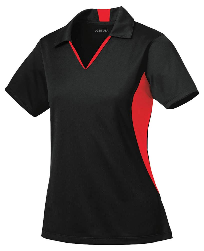 Joe's USA - Ladies Moisture Wicking 2 Tone Micropique Golf Polos-XL Black/True Red by Joe's USA
