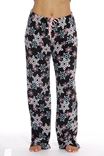 - 6339-10167-XL Just Love Women's Plush Pajama Pants - Petite to Plus Size Pajamas,Black - Snowflake,X-Large