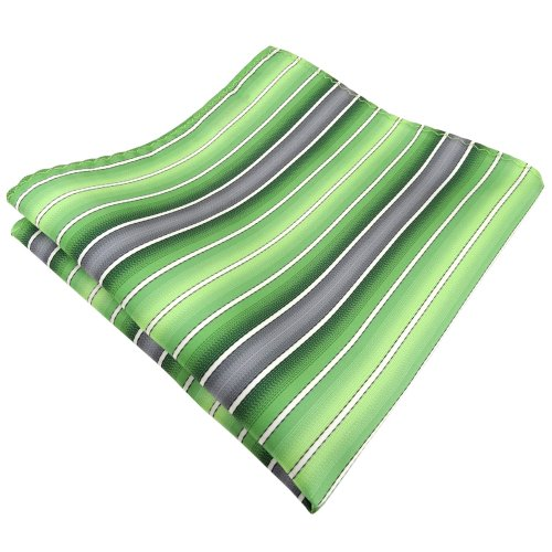 pochette en vert chaux gris crème rayé - tissu Polyester