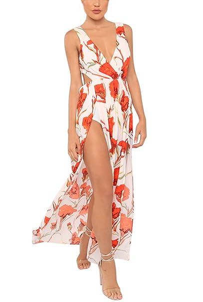 Mujer Vestidos Largos Verano Elegantes Vintage Flores Estampados Vestidos Playa Casual De Fiesta Coctel Sin Mangas