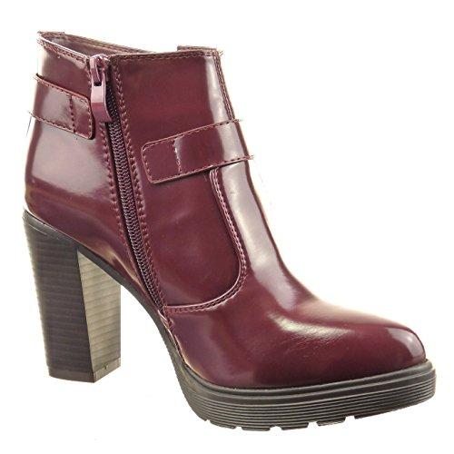 Sopily - damen Mode Schuhe Stiefeletten glänzende Multi-Zaum - Rot