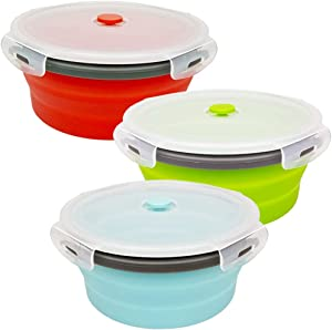 CARTINTS 1200ml Large Collapsible Food Containers Silicone Lunch Containers Silicone Leftover Food Containers, Ideal for Camping Travel, 3Pack
