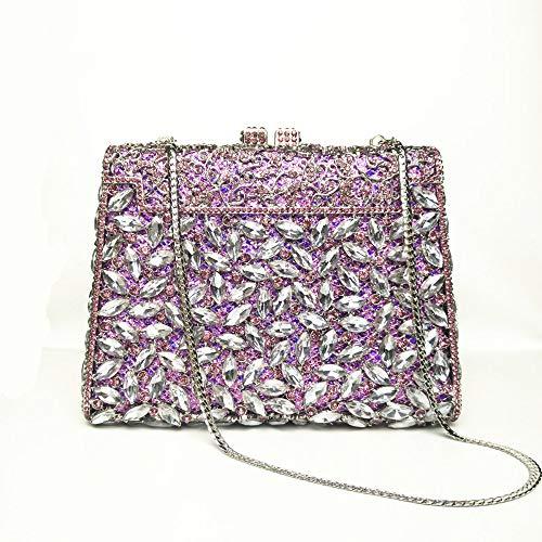 Sac De Cristal Mariage Purple Belle Sac Soirée Main Satin à Lady De étincelant 8UFpR