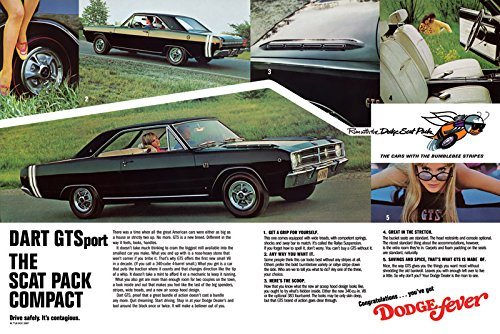 "1968 Dodge Dart GTS Ad Digitized & Re-mastered Car Poster Print ""The Scat Pack Compact"" 24""x36"""