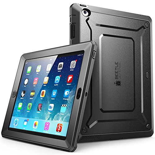 iPad 4 Case, SUPCASE [Heavy Duty] Apple iPad Case [Unicorn Beetle PRO Series] Full-body Rugged Hybrid Protective Case Cover with Built-in Screen Protector for the New iPad 4 & 3 (3rd and 4th Generation with Retina Display), Dual Layer Design + Impact Resistant Bumper (Black/Black) - 4 Generation Cases